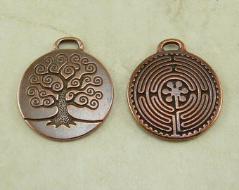 2 TierraCast 1 Labyrinth and 1 Tree Of Life Pendant Mix Pack - Copper Plated Lead Free Pewter - I ship Internationally