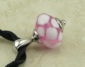 "Transparent Pink & White Polka Dots Lampwork Bead Focal Pendant Necklace - 18"" Satin Cord - Pink White"