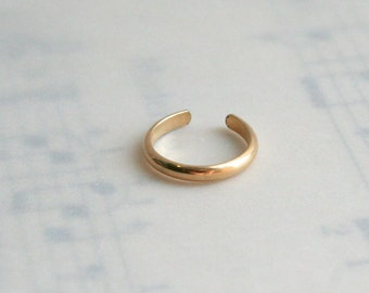 14K Yellow Gold Filled Half Round Ear Cuff Faux Piercing
