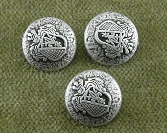 4957 Small Antique Silver Crest Buttons B19