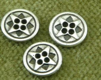 Tiny Cosmic Antique Silver Double Star Italian Button   C34