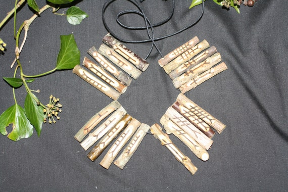 Drilled Celtic Tree Ogham Set for divination or as talisman-pendants, Made with Corresponding Woods - Pagan, Wicca, Witchcraft