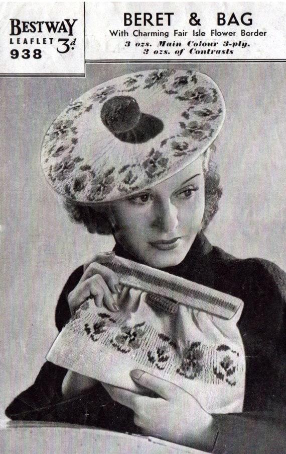 Vintage Knitting Pattern Beret : 1940s Bestway Beret and Bag in Rose Fair Isle Vintage Knitting