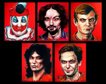"Prints 8x10"" - The Red Serial Killer Series - John Wayne Gacy Charles Manson Jeffrey Dahmer Richard Ramirez Ted Bundy Dark Art Horror Pop"