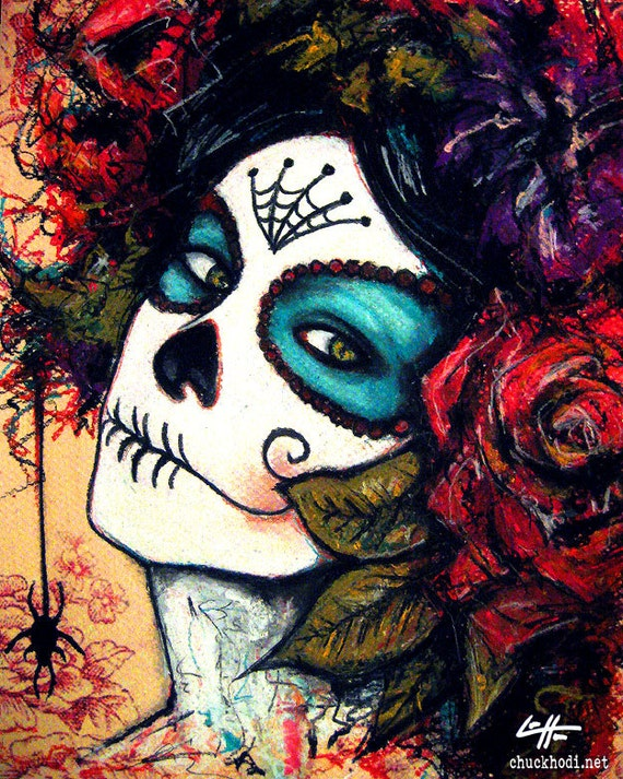 "Print 8x10"" - Day of the Dead Senorita 5 - portrait dia de los muertos mexican holiday death roses flowers dark art lowbrow spiders"