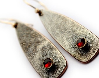 14K Gold and Shibuichi Dangle Earrings with Rose Cut Garnets