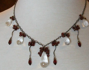 Crystal Quartz Garnet Drops and Clusters Sterling Silver Oxidized Necklace OOAK