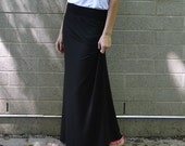 Black maxi skirt with foldover adjustable waistband, organic model spandex jersey, xs, s, m, l, xl