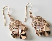 Rose Gold Chandelier Earrings, 24k Rose Gold Earwires, Swarovski Crystals, Rose Gold Filigree, Beaded Earrings, Crystal Chandelier Earrings