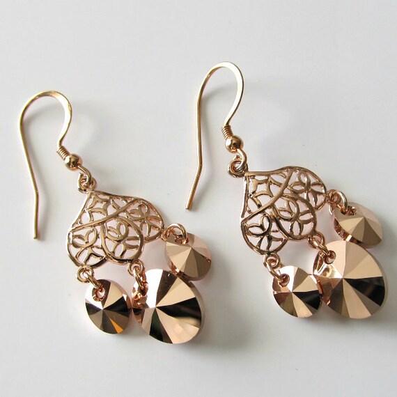 Rose Gold Chandelier Earrings 24k Rose by PacificJewelryDesign