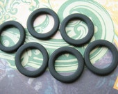 Sea Glass Faux 23mm Ring Connectors in Opaque Black Frost  ( 6rings) b2220