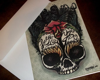 """Gothic Rose Anniversary """"Love You"""" Card Romantic  5x7 Greeting Card Blank inside by Agorables Keepers of Undead"""