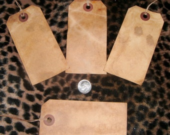 25****   Large Blank Primitive Hang Tags, coffee grunged,rustic,vintage,with string,and shipping included