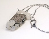 Moonstone Sterling Silver Handmade Locket Moonstones and Stars One of kind Metalwork Jewelry