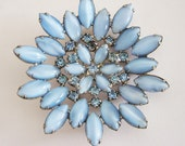 Vintage Ice Blue Cats Eye Brooch, Large Star Shape of Navette Glass Jewels and Rhinestones Pin, Very Pretty and Unique