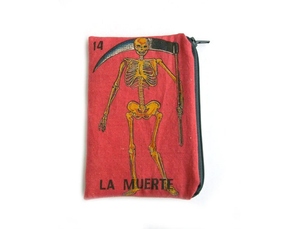 "LA MUERTE ""Death"" Mexican Loteria Zipper Pouch"