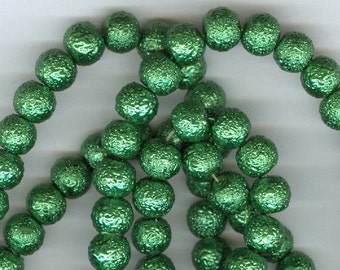 8mm Emerald Green Textured Glass Pearl Round Spacer Beads 32 inch Bead Spacers