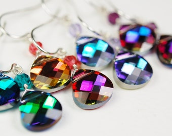 Swarovski Earrings, Choose Your Color Effect, Wire Wrapped, Sterling Silver, Crystal Accent, French Wires