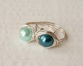 Blue Pearl Ring, Wire Wrapped Ring, Bridesmaid Jewelry