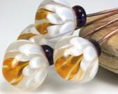 "Lampwork glass bead headpins handmade by Lori Lochner ""Lotus flower"""