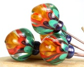"""Lampwork glass bead headpins handmade jewelry making supply by Lori Lochner """"Teal and Coral flowers"""""""
