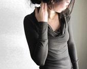 New Deep Olive Mossy Green Cowl Neck Blouse, Women's Top, Modal Fabric, Long Sleeve Shirt, Tunic, Custom Made