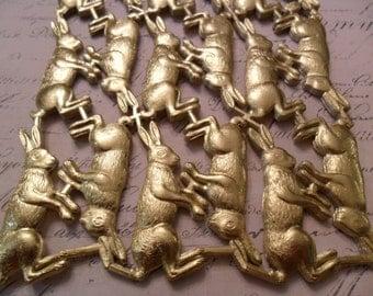 Metallic Gold Foil Vintage Style Die Cut Dresden Easter Bunnies German Scrap