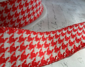 Red and White 1.5 inch Woven Houndstooth Ribbon Trim