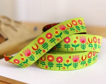 Jessica Jones RIBBON - 7/8 Inch x 5 Yards - Retro Flowers - Lime
