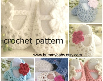 Instant Download, Crochet PATTERN PDF - Crochet Baby Shoes Pattern, Baby Ballerina Slippers, 4 sizes included