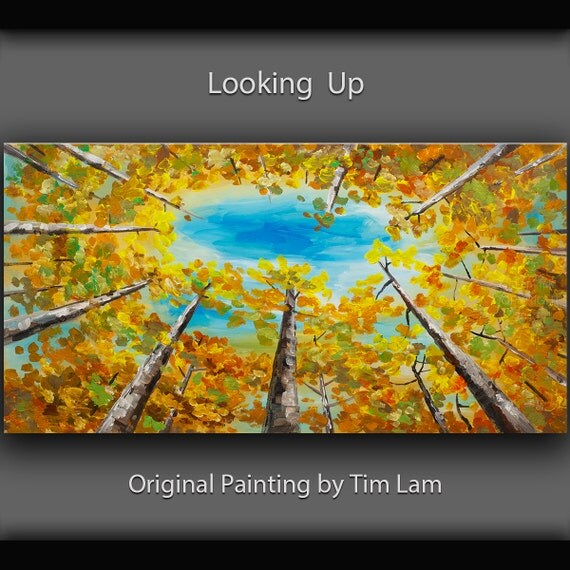 Gold Lemon Yellow Aspen tree Turquoise Sky art, Original large abstract gallery acrylic painting landscape painting by Tim Lam 48x24
