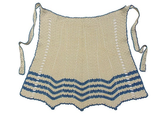 Vintage Half Apron - Crocheted Blue and White - Cotton -1940s