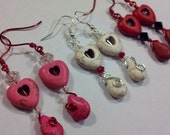 Valentine Heart Earrings your choice Pink White or Red Wire Wrapped