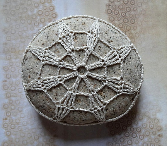 Folk Art, Mixed Media, Crochet Lace Stone, Original, Handmade, Table Decorations, Star, Beige