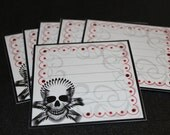 Skull Journaling tags - set of 6 - with rhinestones