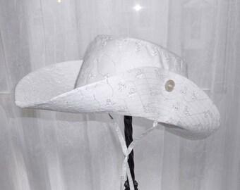 """Hat Girls White Eyelet Adventurer 20"""" Little Girls 1 to 3 years Slue-Foot-Sue's Wedding 25USD"""