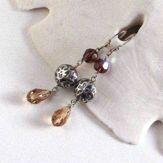 Animal Print Earring, Swarovski Crystal Earrings, Cheetah Print Neutral Long Brown Earrings, Leopard Print Earrings, 925 Sterling, Kitt