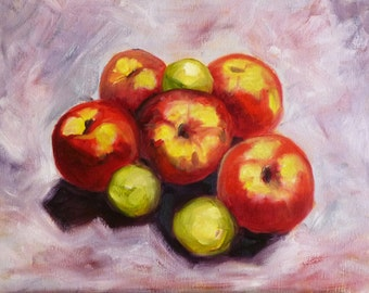 Original Oil Painting, Apple Harvest, Fruit Still Life, 11x14 on Canvas, Red and Green, Kitchen Art, Kitchen Decor, Wall Art