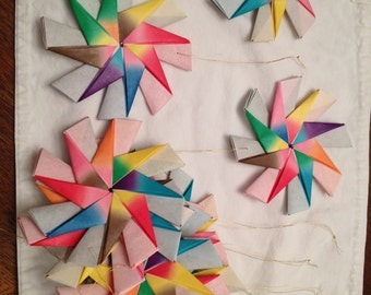 Lot of 12 rainbow starburst origami ornaments.  **NEW LOWER PRICE!!**