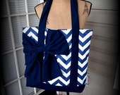 Handmade Navy and White Chevron Tote bag