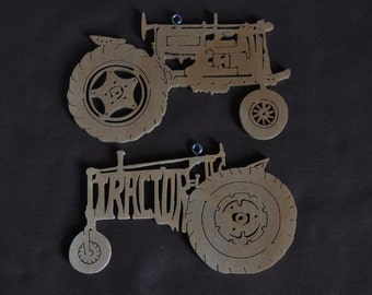 Antique Farm Tractor Wooden Toy Ornaments Hand Cut