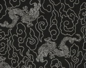 Tenugui 'Black Dragons' Fabric Japanese Cotton Gauze w/Free Insured Shipping