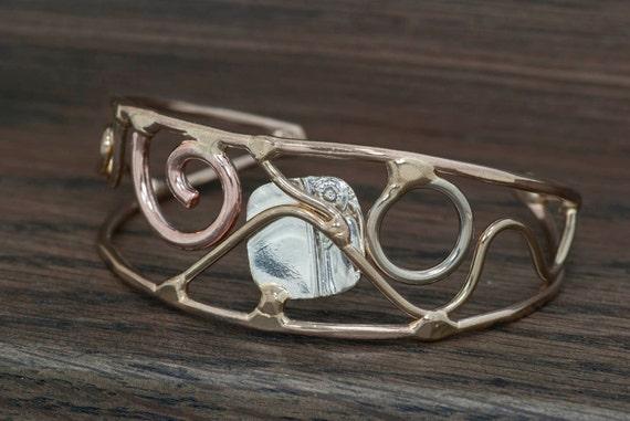 Mixed metal bracelet, cuff bracelet, bronze, copper, nickel silver