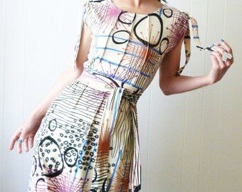 Another Scenario - iheartfink Handmade Hand Printed Womens Unique Colorful Wearable Art Print Sleeveless Jersey Dress