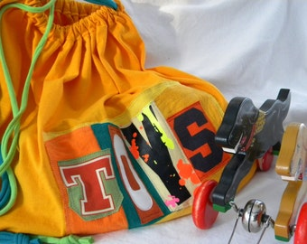 TOYS Drawstring Upcycled Huge Project Bag Ready to Ship ONE Repurposed Not lined Made to Order