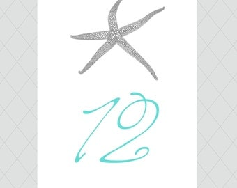 Starfish Table Numbers - Beach Wedding Table Number