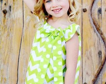 Girls Green Chevron Dress- Baby Dress- Toddler Dress- Chevron Dress- Girls Chevron Dress- Green Chevron Dress- Party Dress- Birthday Dress
