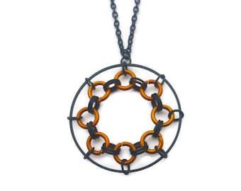 Black and Orange Spirograph Necklace