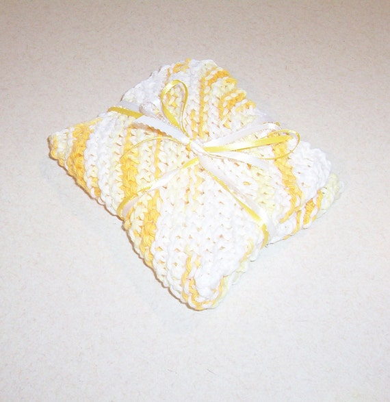 New Hand Knit Varigated Yellow Dishcloth