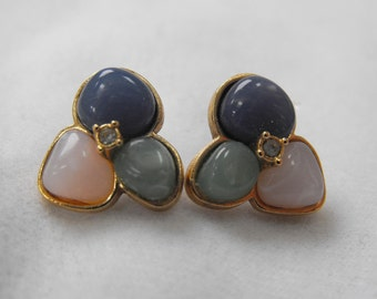 Vintage Earrings, Pierced, Designer, Glass Cabochons and White Gemstone, Gold Plated, ca 1970s LK-149